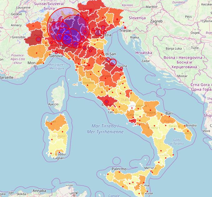 La mappa del virus in Italia